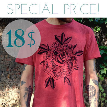 SPECIAL PRICE! men's t shirt with tattooed rose print. Melange red, high quality tee. Screen print of a handmade design. for him