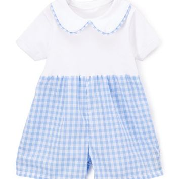 Caught Ya Lookin' White & Blue Gingham Romper - Infant & Toddler