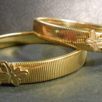 2 Two Bracelets Made of Strechy Gold ' Colored ' Metal / Weekender Clothing Line Bracelet / Weekenders ' Accessory Accessories