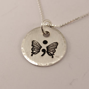 Semi Colon Butterfly PENDANT ONLY
