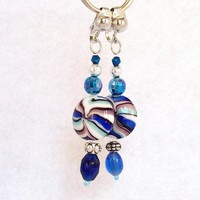 Beaded Dangle Earrings, clip or pierced, in blue white silver colors