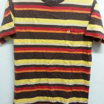 Sale Vintage Distressed 80s 90s Hang Ten Pinstripe Colorfull Multicolour Design Foot TShirt
