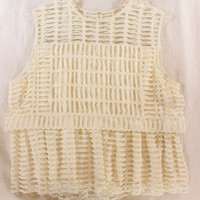 "~~~ MODERN MAIDEN ~~~ CHLOE CREAM SLEEVELESS ""CUT-OUT"" LAYERED TRAPEZE TOP ~ 40"