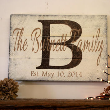 Personalized Name Sign Custom Name Sign Family Name Sign Wood Pallet Sign Wedding Gift Bridal Shower Gift Housewarming Gift Brown and Tan