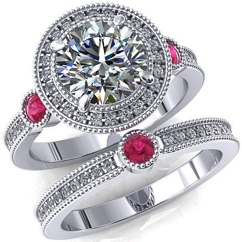 Brachium Round Moissanite Ruby Bezel Milgrain Halo 3/4 Eternity Accent Diamond Ring
