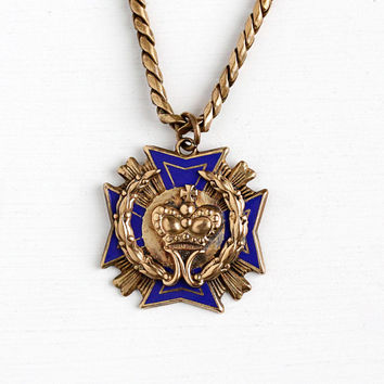 Vintage Brass Tone Maltese Cross Repousse Crown Pendant Necklace - 1940s Blue Enamel Royal Queen Shield Crest 13 Inch Chain Costume Jewelry