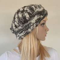 Hand knitted and crochet hat - beret in 100% Australian merino wool - multicolored - womens or girls - black white and gray