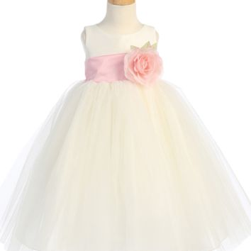 Ivory Layers of Tulle & Poly Silk Blossom Flower Girls Dress (Girls 6 months - Size 12)
