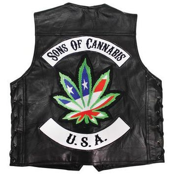 Men's Real Black Leather Vest Rocker Patches and a Large Marijuana Leaf