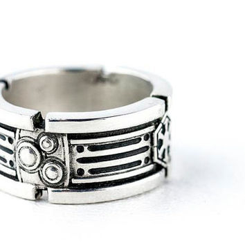 Lightsaber Wedding Ring Band Sterling Silver Custom Ring