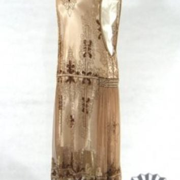 The Fleur-de-Lis Gold : Beaded 1920's Style Gowns, Art Deco Gowns, 20's Flapper Fringe Dresses, Vintage Daywear, Hollywood Reproductions..... from LeLuxe Clothing