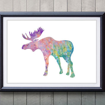 Moose, Antler, Stag Print - Minimalist Art - Silhouette Poster Art - Wall Decor, Home Decor, House Warming Gifts