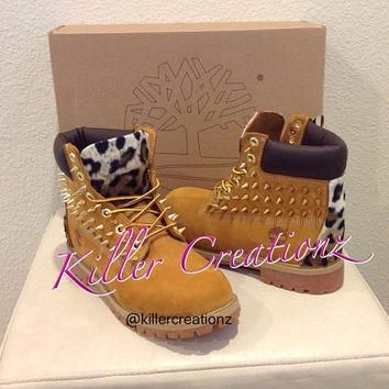 Custom spiked Timberland boots with leopard - made to order