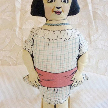 Vintage Printed Cloth Doll Miss Phoebe Primm Doll Faultless Starch Ad Premium Art Deco Reproduction Doll 1970's Advertising Doll Kit