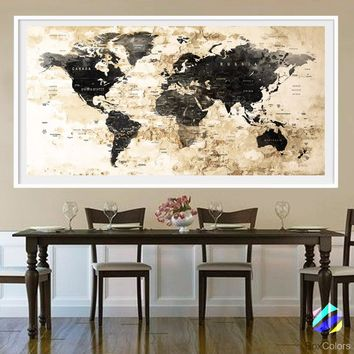 XL Poster Push Pin World Map cities travel Art Print Photo Paper watercolor Wall Decor Home (frame is not included)(P27) FREE Shipping USA!!