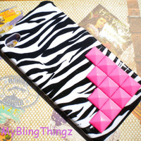 Bright Hot Pink Pyramid Studs on Zebra Case by MyBlingThingz