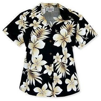beachcomber black hawaiian lady blouse