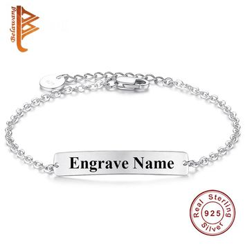BELAWANG Authentic 925 Sterling Silver Customize Bracelet for Women Personalized Engraved Bracelet Fashion DIY Jewelry