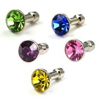 Case Star Pack of 5 PCS Blue,Dark Purple,Green,Gold,Pink Diamond Anti-dust Plug Stopper for iPhone