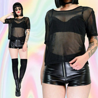 sheer mesh tshirt black tumblr fashion mesh shirt club kid vintage 90s soft grunge cyber goth