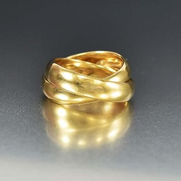 Trinity Wide 14K Gold Rolling Band Ring