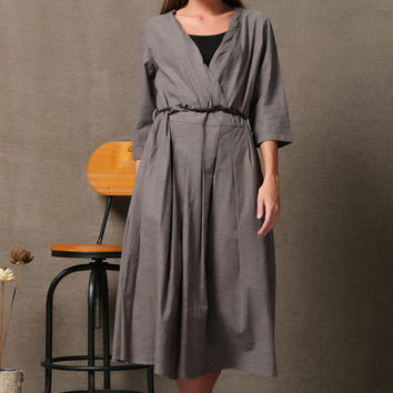 Grey linen dress women Maxi dress  C618