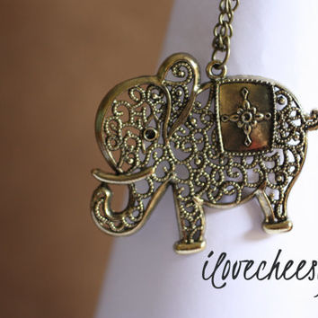 ABUNDANCE~  Vintage Style Filigree Elephant Pendant and Chain with Antiqued Bronzed/ Brass Finish