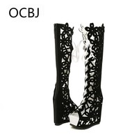Roman Open Toe Hollow Summer Boots Wedges High-heeled Platform Boots Gladiator Sandals