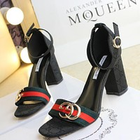 GUCCI Popular Women High-Heeled Shoes Sexy Cloth Letter Print High Heels Chunky Heels Black
