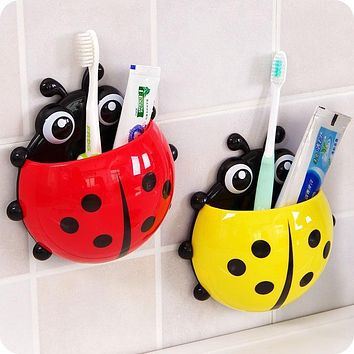 Cute Ladybug Insect Toothbrush Wall Suction Bathroom Sets Cartoon Sucker Toothbrush Holder / Suction Hooks Bathroom Racks