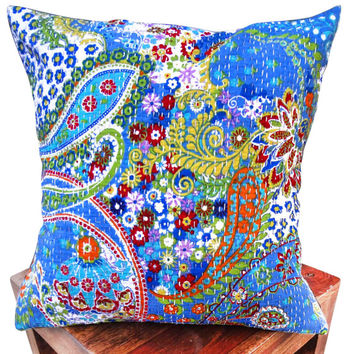 paisley print kantha cushion cover , indian cushion, cotton cushion ,handmade cushion ,kantha pillow