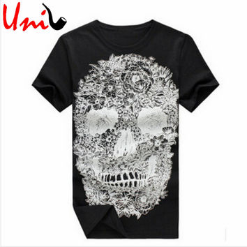 Men's Tee Shirt 2016 Brand New Short Sleeve Skull Printed O-Neck Loose Fashion Casual Steer Style Plus Size Men T-shirt G009