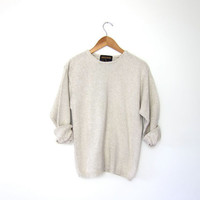 vintage speckled sweater. cotton knit sweater. woolrich knit sweater. basic oatmeal sweater. Medium