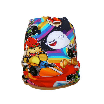 OS Hybrid Fitted Cloth Diaper -  Mario Kart