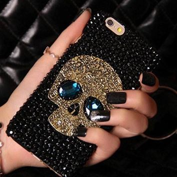 Handmade Diamond Metal Skull back phone case Iphone 5 5s 6 6 plus for galaxy S6 S6 edge