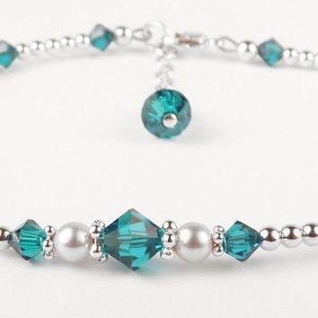 Handmade Sterling Silver Crystal Ankle Bracelet  -  Birthmonth  Blue Zircon December