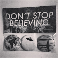 "bigfoot, ufo and loch ness monster ""don't stop believing"" pin pack."