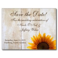 Country Sunflower Save the Date Wedding Card Postcard