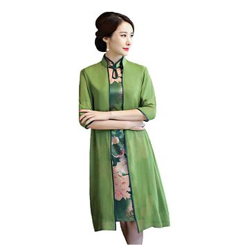 Flower Sexy Women Two-Piece Qipao Traditional Chinese Dress Vintage Elegant Mandarin Collar Cheongsam M L XL XXL 3XL Z001