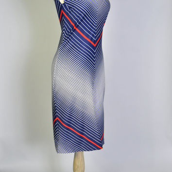 Vintage OP Art Dress 70s Striped Chevron MOD Dress Sleeveless Shift Dress M Red White Blue