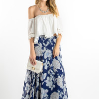 Carrie Navy Floral Maxi Skirt