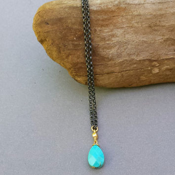 Sleeping Beauty Turquoise Necklace, Stone Necklace, Sterling Silver, Oxidized Silver Necklace, Turquoise Pendant, Gold Chain