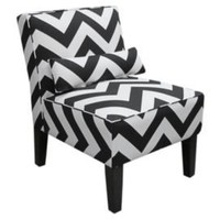 One Kings Lane - Headboards, Ottomans & More - Zig Zag Armless Chair, Black/White