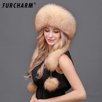 Women's Winter Hats Genuine Fox Fur & Rabbit Fur Hat with 2 Pompons Whole Fox Tail Russian Winter Outside Warm Mongolian Caps