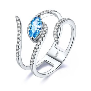 Merthus 0.75ct Marquise Blue Topaz Bypass Ring Guard Enhancer 925 Sterling Silver