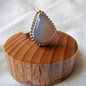Large Pear Shaped Australian Opal and Sterling Silver Ring