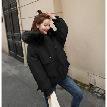 Womens Winter Short Puffy Coat with Hood in Black