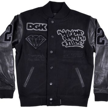 ca qiyif Diamond Supply Co X DGK Letterman Jacket Wool Leather Mens