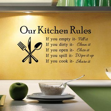Cava Lighting Kitchen Rules Art Quote Vinyl Decal Wall Decoration