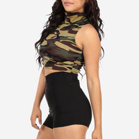 Camouflage Turtleneck Crop Top No Sleeve